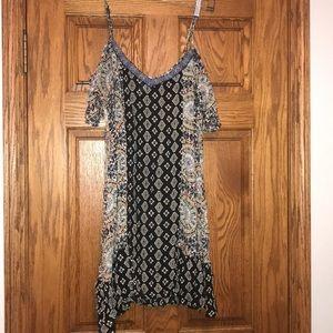 Exposed Shoulder V Neck Sheer Boho Pattern Dress